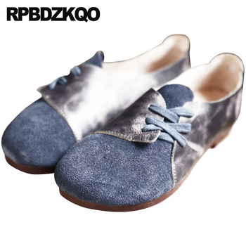 Designer Shoes Women Luxury 2018 Vintage Japanese Genuine Leather Brown Round Toe Korean Plus Size Large Lace Up 9 Suede Blue