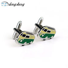 dongsheng Fashion Camper Van Cufflinks VW T1 Bus Car Kombi Combi Novelty Alloy Cuff Links For Mens Wedding Jewelry-40(China)