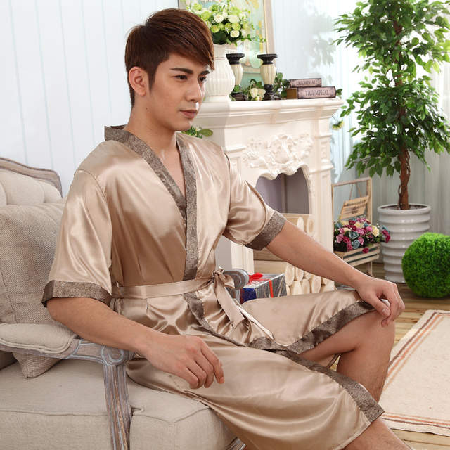 b52f9e3af7 Online Shop Vintage Men Satin Kimono Bath Robe Sexy Unisex Printed Night  Gown Sleepwear Chinese Style Vintage Nightwear Size L XL XXL