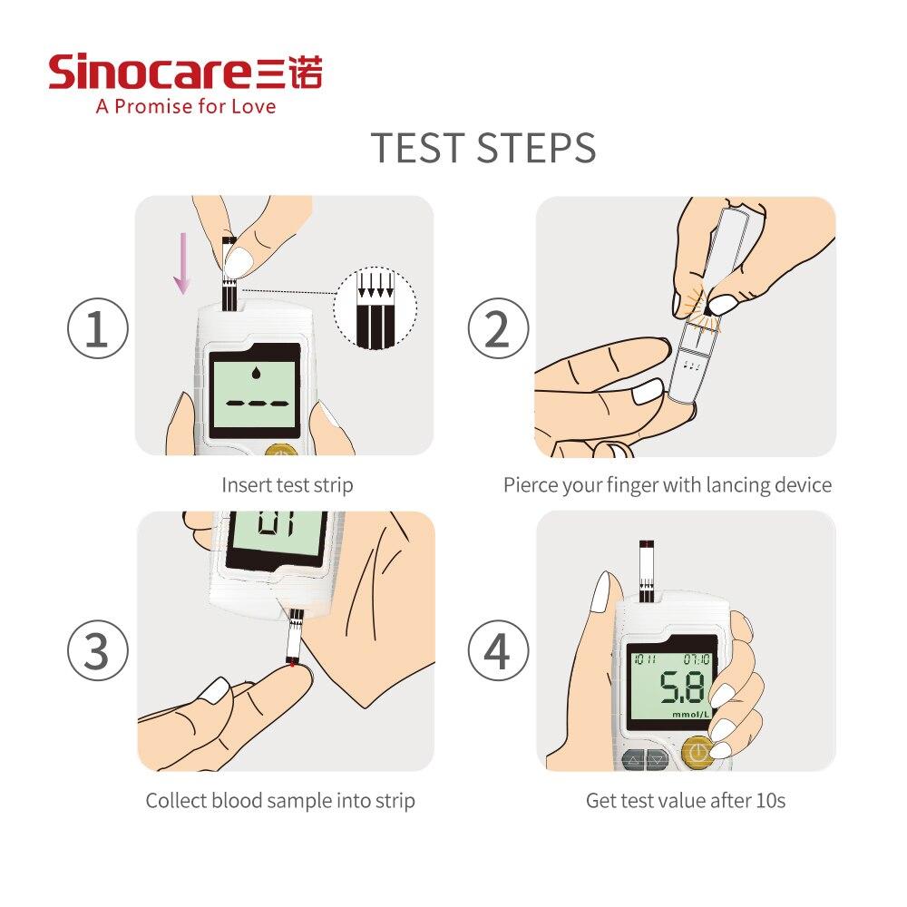 Инструкция на английском Sinocare Sannuo GA-3 глюкометр 25 Тесты полоски 25 ланцеты сахара в крови глюкометр диабет Тесты er