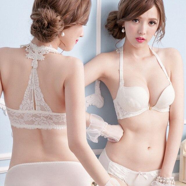 5e7cb64482 Sexy America Back Woman Underwear Set Hanging Neck Style White Bra Y-strap  Lace Bras Front Buckle Gather Woman Underwear Set