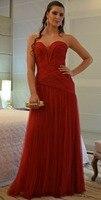 Evening Dress 2016 New Floor Length Red Tulle Formal Long Gowns Sweetheart Robe De Dresses