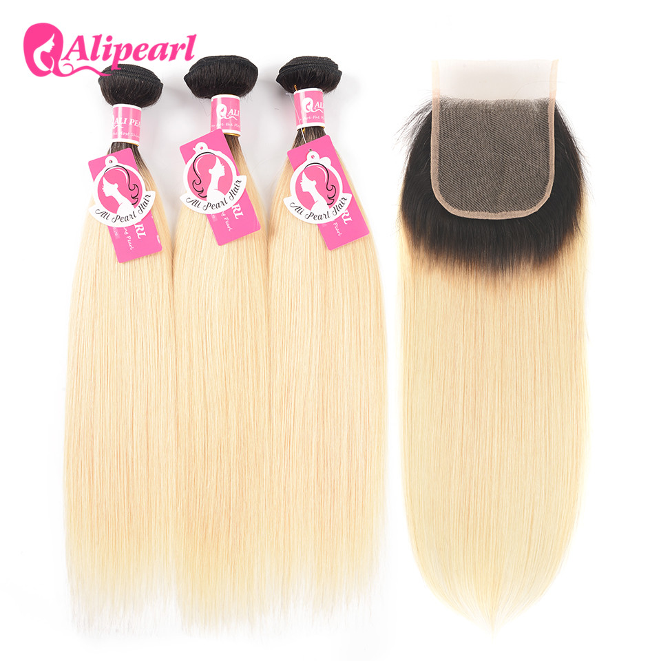 AliPearl Ombre Blonde Bundles With Closure 1B/613 Black and Blonde Hair Bundles Dark Roots 10-24 Inch Remy Hair Weave image