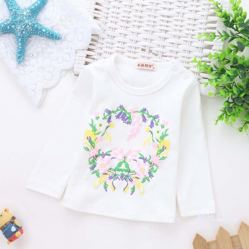 ᐊNuevo Bebé primavera camiseta casual patrón flor manga larga ...