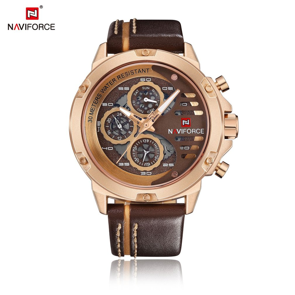 NAVIFORCE Men Genuine Leather Band Quartz Watch Casual Data Day Display Big Round Dial Wrist Watch for Male Men simple minimalism casual men quartz wristwatch number dial genuine leather band cost effective natural wooden design male watch