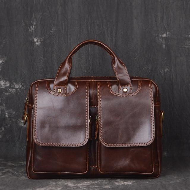 e48095fc36 Genuine Leather Men bags Fashion Brand Designer Handbags Shoulder Vintage  Retro Cow Bags Men Messenger Bags Briefcase