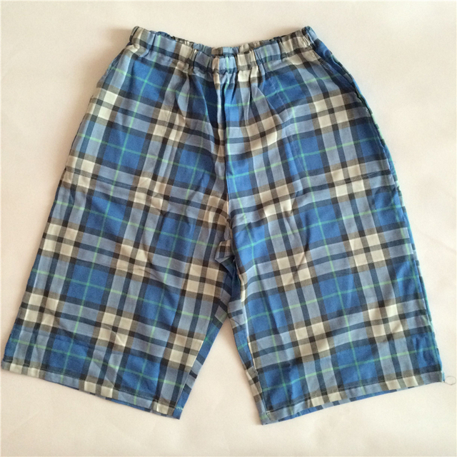 Mens Sleep Shorts Men Cotton Pajama Shorts Mens Lounge Shorts Summer Casual Breathable Cotton Gauze Plaid Pants Sleep Bottoms