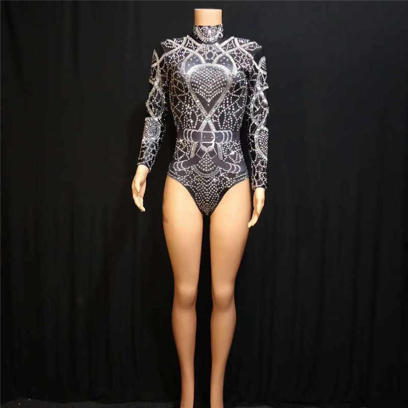 X58 черный женский боди с принтом Комбинезон Костюмы со стразами певица одежда полюс Танцы платье бар вечерние одежда на выход для клуба