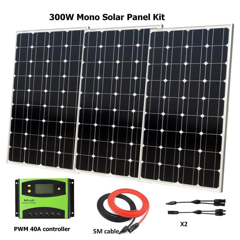 3pcs 100W Solar Module with Glass Laminate Mono 100w Solar Panels 300W Solar System with 40A solar charge controller Off Grid