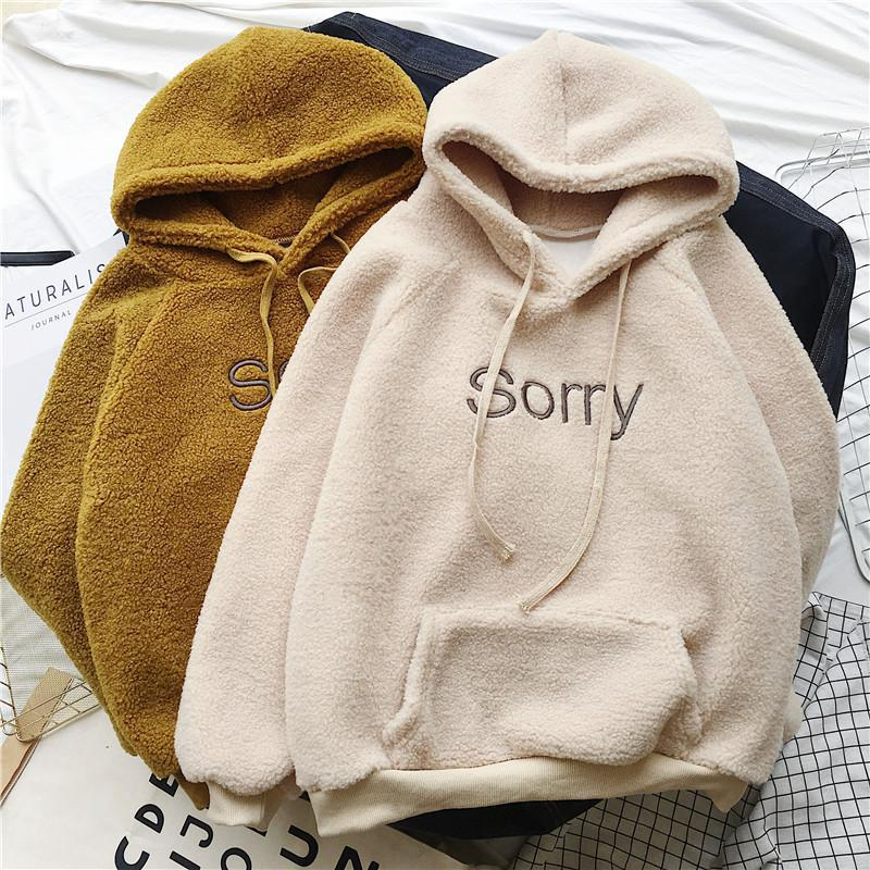 Winter Thicken Coat Keep Warm Hooded Sorry Print Harajuku Loose Pocket Hoodies Womens Fleece Flannel Pullover Female Sweatshirt