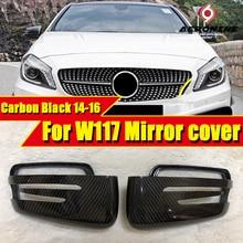 цена на CLA W117 Side Mirror Cover Cap 2-Pcs True Carbon Fiber Fits For Mercedes Benz CLA200 CLA250 CLA45 Look 1:1 Replacement 2014-2016