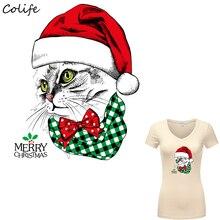 christmas hat cat patches washable diy accessory print on t shirt new design iron appliques - Christmas Applique Designs