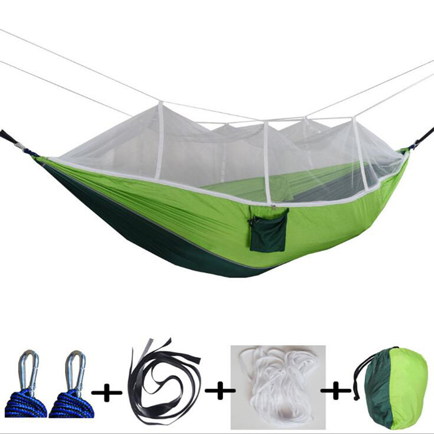1 2 Person Outdoor Mosquito Net Parachute Hammock Camping Hanging Sleeping Bed Swing Portable Double Chair Hammock|Hammocks| |  -