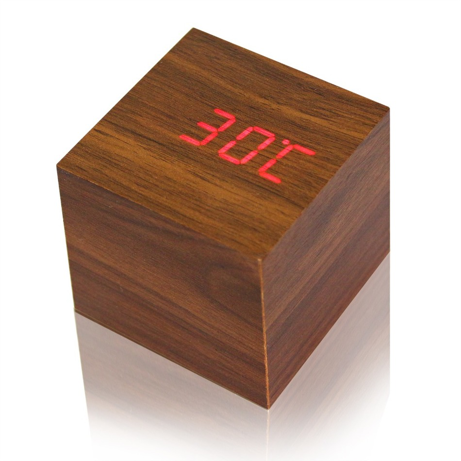cube wooden led alarm clock despertador temperature sounds. Black Bedroom Furniture Sets. Home Design Ideas