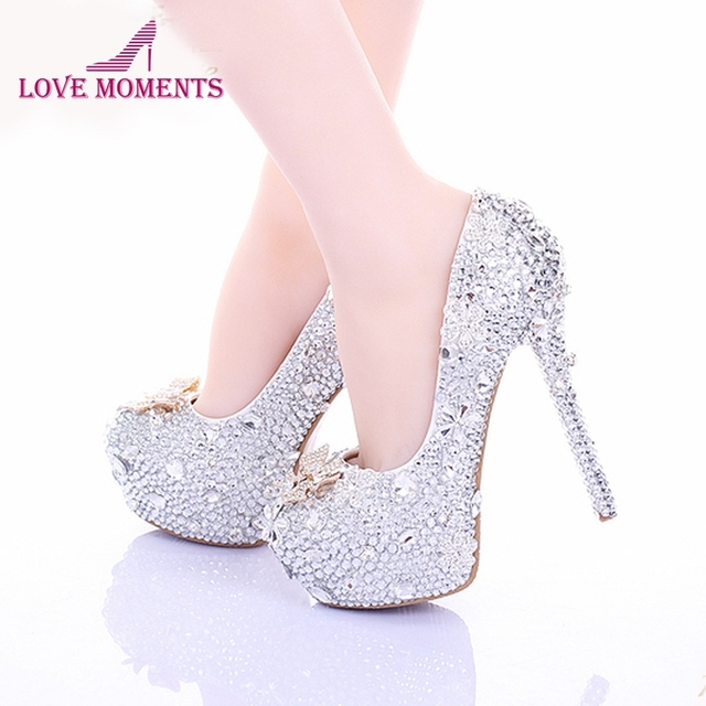 Cinderella High Heels Crystal Wedding Shoes 14cm Thin Heel Rhinestone  Bridal Shoes Round Toe Formal Occasion Prom Shoes c9701321d6b5