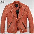 Cowhide Genuine Leather Jacket Man Cheap Man Cow Leather Slim Vintage Coat Winter Jacket 2014 Best Selling