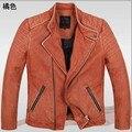 Genuino del zurriago hombre chaqueta de cuero hombre barato delgada de cuero de vaca Vintage chaqueta abrigo de invierno 2014 superventas