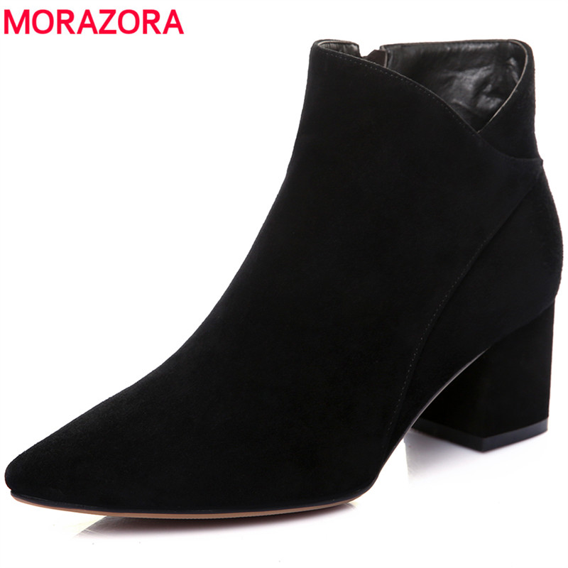 MORAZORA Plus size 34-43 kid suede leather boots women pointed toe autumn ankle boots for women high heels ladies brand shoes egonery quality pointed toe ankle thick high heels womens boots spring autumn suede nubuck zipper ladies shoes plus size