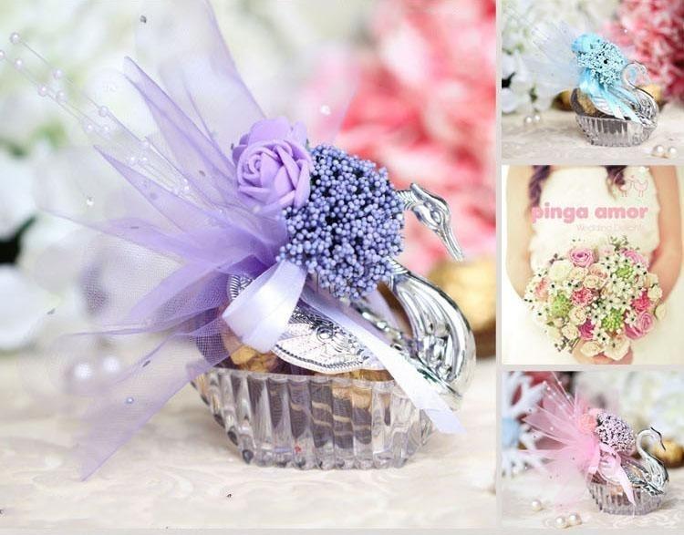 Swan Wedding Gift Return: New Novelty Wedding Favor Boxes Acrylic Silver Swan