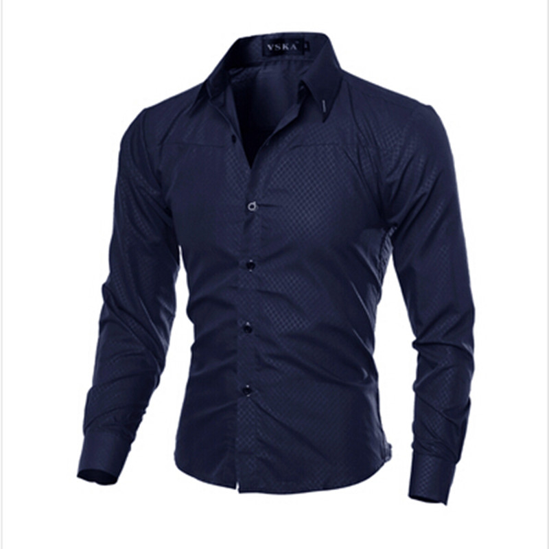 Hot sale 2017 plus size men slim fit striped shirt men for Mens dress shirt sleeve length