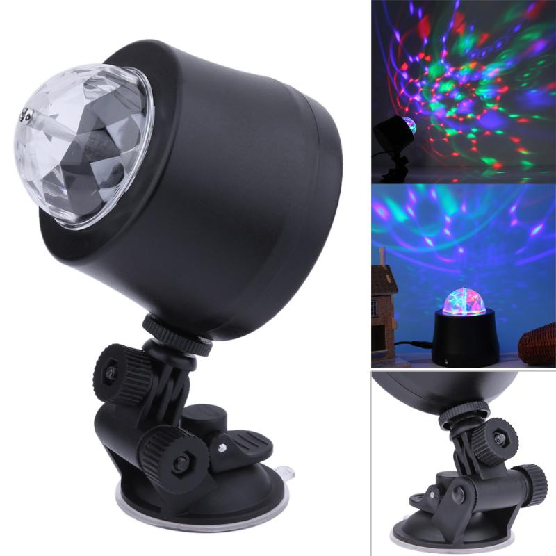 Car Entertainment Mini Magic Crystal Ball RGB Rotating Party DJ Light Auto USB Interior LED Atmosphere Decorative Stage Lamp