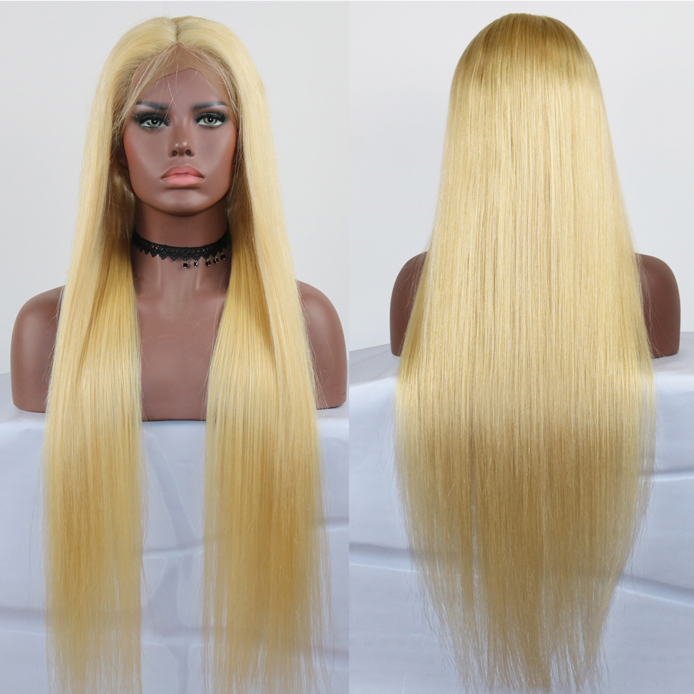 Eversilky Hair # 613 Blonde Human Hair Front Lace Wigs With Baby Hair Straight Peruvain Remy Human Hair Glueless Lace Front Wig image