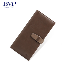 BVP Business Fashion Men's Top Genuine Leather Cowhide Bifold Long Wallet Vintage Organizer ID Card Purse  Brown Trend Q507