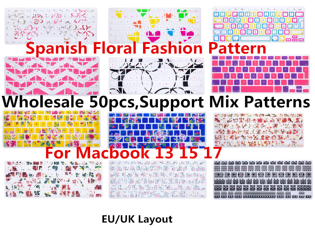 HRH Wholesale 50pcs Spanish ESP Flower Silicone Keyboard Cover Skin Protector For Apple Macbook Air Pro Retina Display 13 15 17