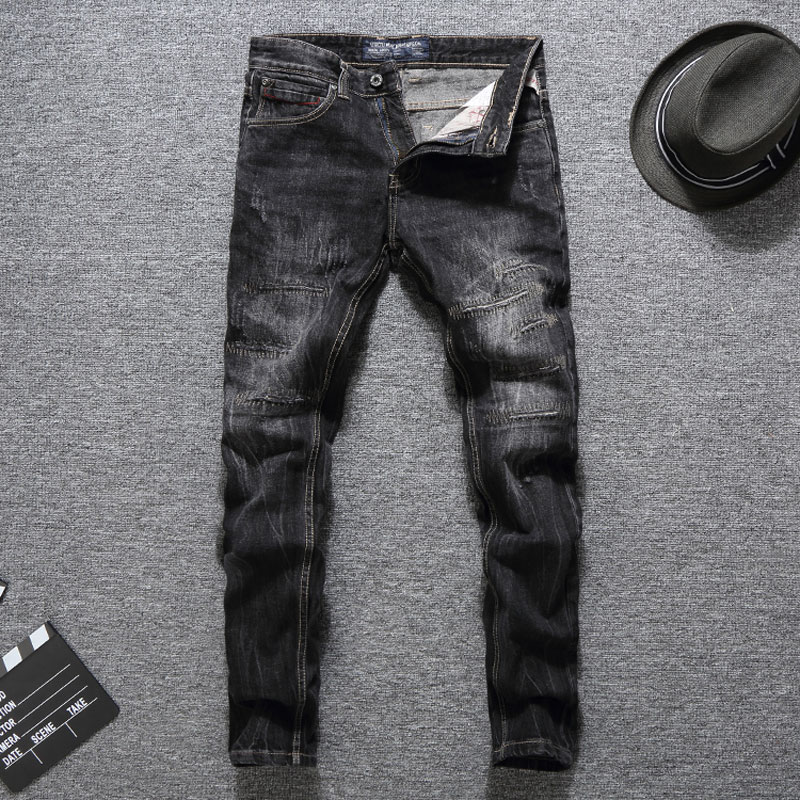 Italy Style Fashion Men Jeans Black Color Slim Fit Destroyed Ripped Jeans Homme Balplein Brand Jeans Men Biker Jeans Denim Pants dsel brand ripped jeans for men blue color hot sale button fly classical design mens denim jeans homme 964