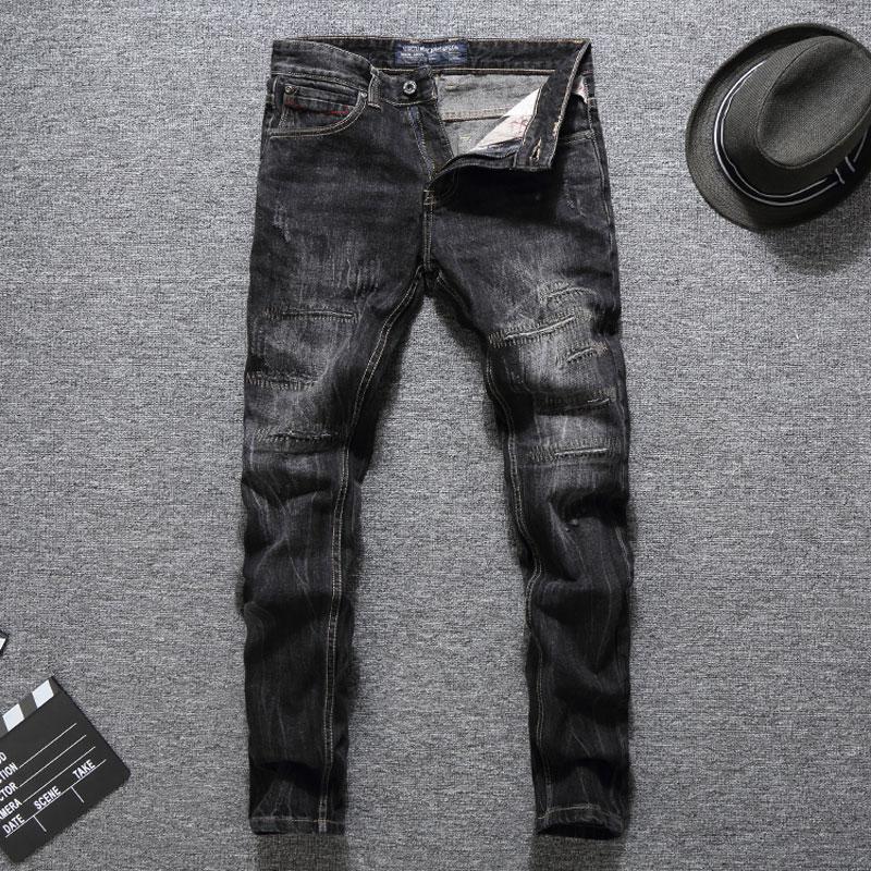 Italy Style Fashion Men   Jeans   Black Color Slim Fit Destroyed Ripped   Jeans   Homme Balplein Brand   Jeans   Men Biker   Jeans   Denim Pants