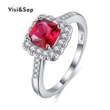 Wholesale S925 Sterling silver Red gem inlaid cz diamond jewelry Party engagement Wedding Rings For Women High quality VSR200 retro faux gem inlaid wedding anniversary jewelry