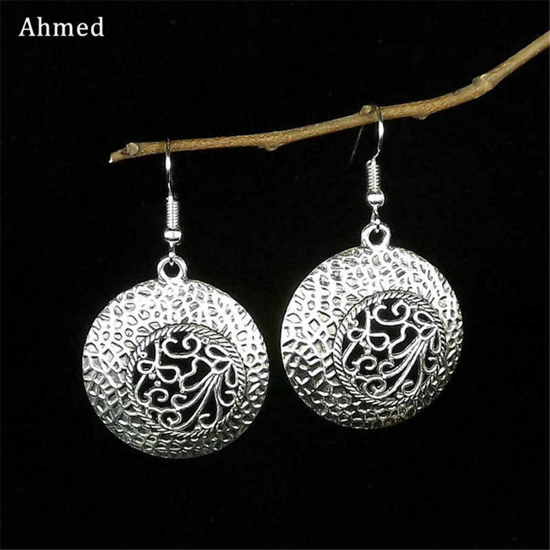 Ahmed Vintage Antique Statement 2018 Women Earrings Fashion Bohemia Ethnic Tibetan Hollow Flower Dangle Jewelry Gifts