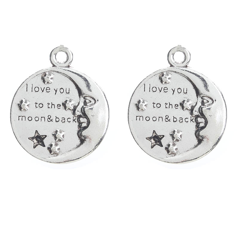 10pcs/lot Stars Moon Charms Antique Silver Tone Love Words Letters Charms For Jewelry Findings Making Wedding Designs