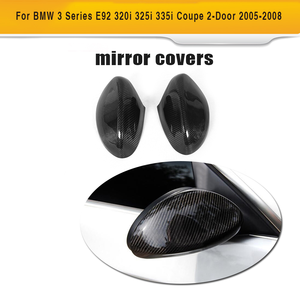 Carbon Fiber Add on rear mirror covers caps for BMW E92 318i 320i 323i 325i 328i 330i 335i xDrive 2005 - 2008 M3 2007 2008 for ford mustang 2008 2009 2010 2011 2012 2013 add on style carbon fiber rear view mirror cover black finish