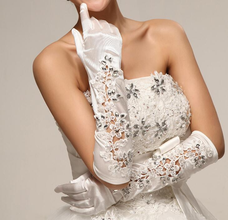 Women's Rhinestone Beaded Satin Glove Lady's Long Sexy Embroidery Lace Glove R191