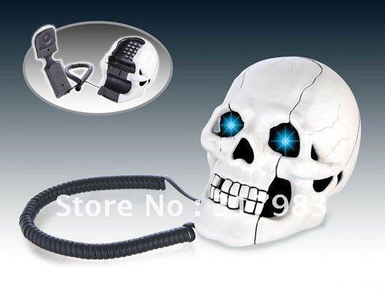 Free Shipping Skull Designer Home Phone Telephone Skull Shape Novelty  Telephone Flashing Phone White In Telephones From Computer U0026 Office On  Aliexpress.com ...
