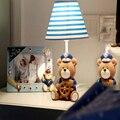 Children Room Captain Bear Led E14 Wood Desk Lamp Study Lamp 110V-220V Led Desk Lamp Child Switch Button Led Bedside Lamp