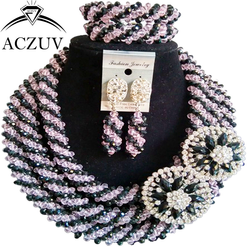 ACZUV Pink and Black Crystal Nigerian Necklace Wedding Accssories African Beads Jewelry Set A3R004ACZUV Pink and Black Crystal Nigerian Necklace Wedding Accssories African Beads Jewelry Set A3R004