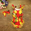 Nuevo 2017 Mono Del Bebé Recién Nacido Diadema Arco Set, Modelo de la Fruta Mameluco Del Bebé Ropa Del Niño, Bebe Uno Junta Las Piezas, # P0503