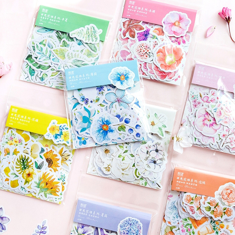 45 Pcs/pack Creative Japanese Decoracion Journal Cute Diary Flower Stickers Scrapbooking Flakes Stationery School Supplies