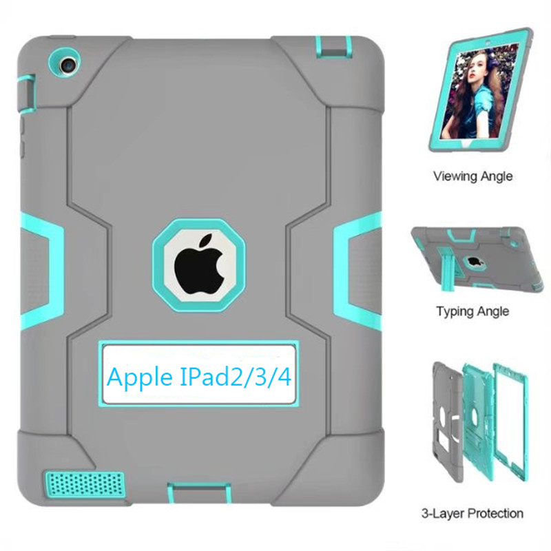 For Apple iPad2 iPad3 iPad4 Kids Safe Armor Shockproof Heavy Duty Silicon+PC Stand Back Case Cover For ipad 2 3 4 Tablet PC armor kickstand case funda for apple ipad 2 3 4 cover tablet kids shockproof heavy duty stand hang shell for ipad2 ipad3 ipad4