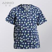 Free Shipping Nurse Uniform Print Short Sleeves Medical Uniform Clothes V Neck Medical Scrubs TOP
