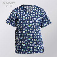 Free Shipping Nurse Uniform Print Short Sleeves Medical Uniform Clothes V Neck Medical Scrubs TOP