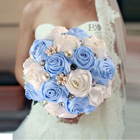 H&D Beautiful Blue Wedding Bouquet All Handmade Bridal Flower Wedding Bouquets Artificial Pearls Flower Rose ramos de novia