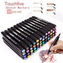 TOUCHFIVE 30 36 48 ألوان مزدوجة مقبض رسم قلم تحديد علامات الكحولية الزيتية القائمة على مانغا أنيمي كوميك تصميم قلم رسم