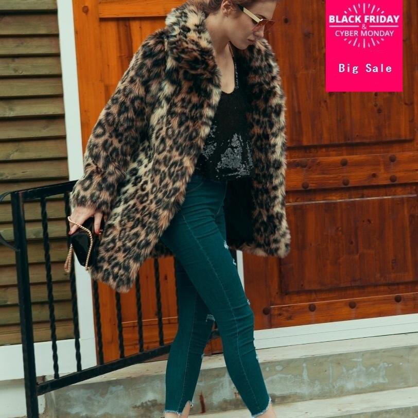 Hiver mode femmes fausse fourrure manteau grande taille léopard fausse fourrure outwear épaissir chaud veste femme furry pardessus décontracté L1393