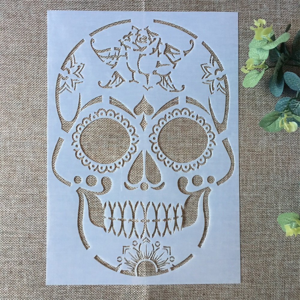 29*21cm Smile Skull DIY Layering Stencils Wall Painting Scrapbook Coloring Embossing Album Decorative Paper Card Template