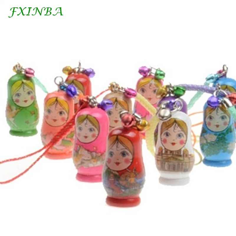 FXINBA 5 Pieces Wooden Russian Nesting Dolls Matryoshka Doll Set Keychain Phone Hanger Bag Gift Handmade Souvenir Toys for Child