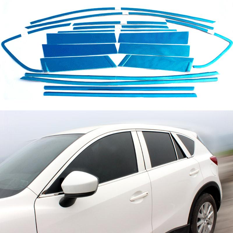 Full Window Trim Decoration Strip Decorative Molding Accessories For Mazda CX5 CX5 2012 2013 2014 2015 Stainless Steel  18 car full window trim decoration strips auto window decorativa strip for lifan x60 2011 2012 2013 2014 2015 car covers oem 12 20