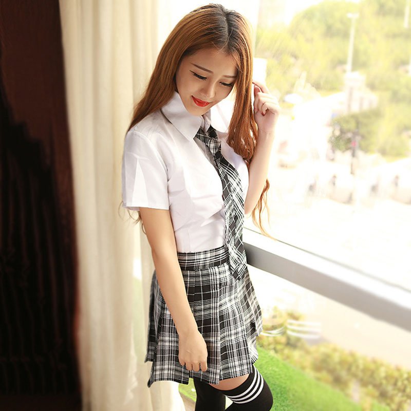 2017 New sexy lingerie hot Seductivesexy school uniform for girls crop top and skirt fantasias erotic sexy costumes Japanese